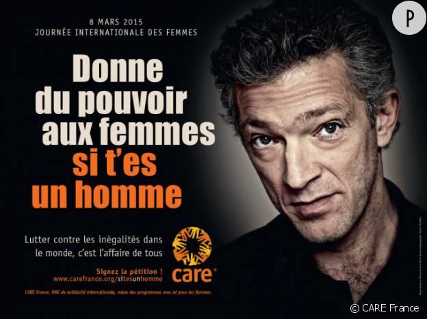 A l'approche de la journée internationale des femmes, le 8 mars 2015, Vincent Cassel encourage les hommes à se mobiliser pour le combat des femmes dans la campagne de l'ONG CARE France.
