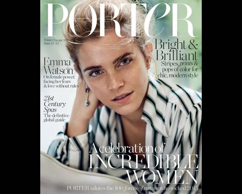 """Emma Watson est la cover girl du magazine  Porter  pour son numéro """"Winter Escape""""."""