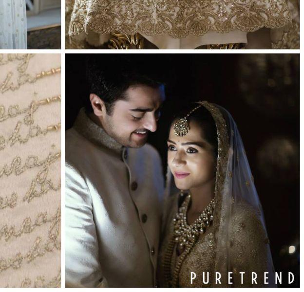 Kresha Bajaj a brodé sur sa robe de mariée les étapes de son histoire d'amour.
