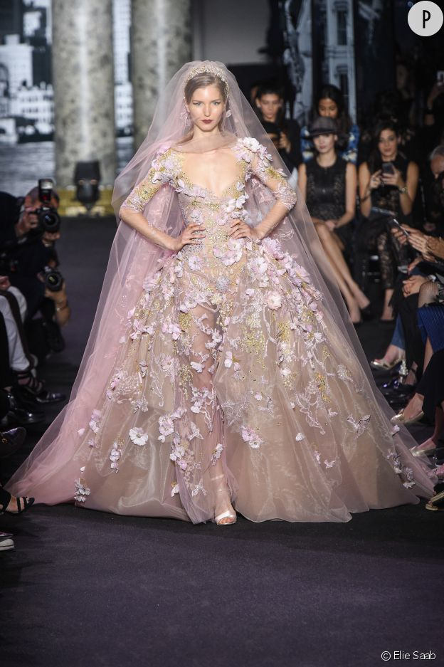 Celle qui a foulé le catwalk de la Haute Couture Automne-Hiver 2016 2017  semblait sortie d un songe dans sa robe à l aura rose brodée de fleurs. 66917a48f97