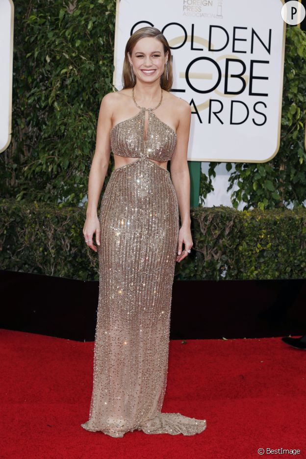 Dans sa robe longue Calvin Klein, Brie Larson est éblouissante.