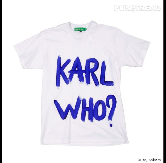 "T-shirt ""Karl Who ?""  par Naco Paris en bleu"