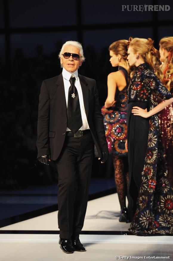 Karl Lagerfeld lors du défilé Haute Couture de l'été 2009