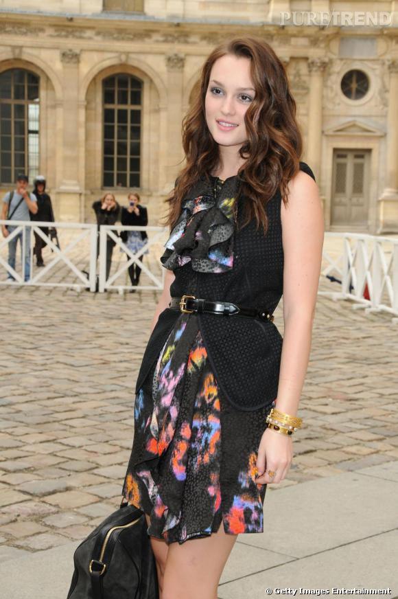 Leighton Meester, spécialement venue à Paris pour assister au défilé Louis Vuitton.