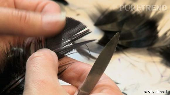 Travail de la plume à la maison Lemarié
