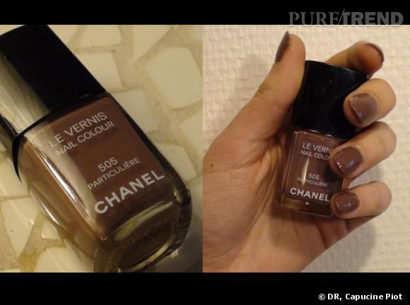 """Collection Les Impressions de Chanel     Le produit incontournable de cette saison en matière de maquillage est le vernis à ongles n°505, Particulière. Pour être in, appelez-le par son nom de code : """" le 505 """". Ainsi, vous aurez l'impression de faire partie d'un club hyper sélect'. Sa teinte a déjà fait des émules puisque depuis sa sortie, le vernis est quasiment sold-out en parfumerie. Dépêchez-vous !       Vernis n°505 Particulière de Chanel."""
