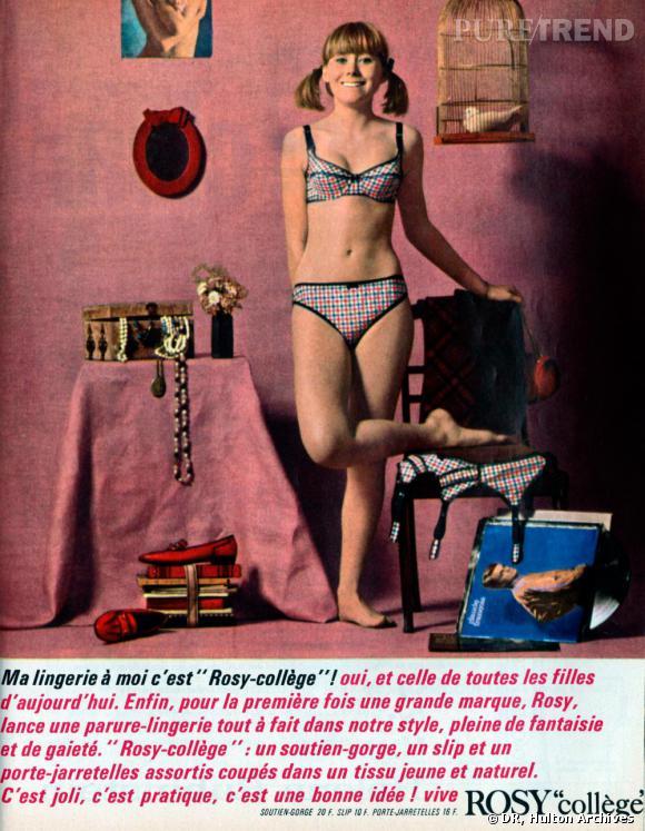 """Publicité pour les dessous Rosy """"College"""", 1965 France"""