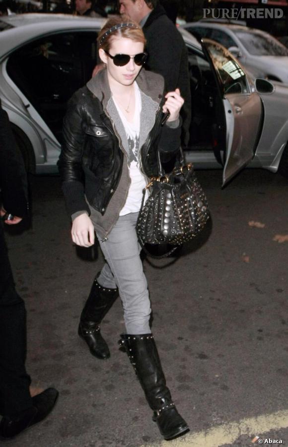 Emma Roberts arrivant à son hotel, à Londres