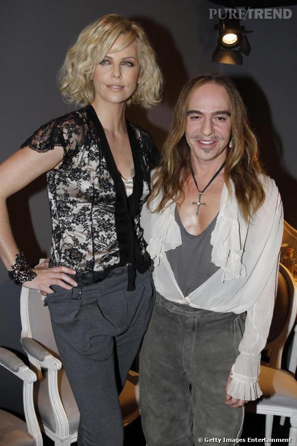 Charlize Theron et John Galliano au défilé Dior