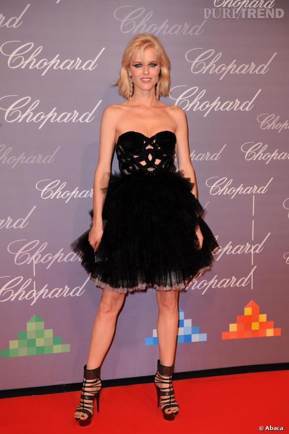 2009 : Chic et sexy en Roberto Cavalli, Eva affichait une plastique harmonieuse et bien dessinée.