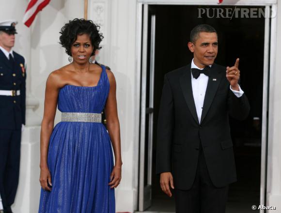Michelle Obama toujours très glamour au côté de son mari avait opté pour une robe Peter Soronen lors d'un dîner à la Maison Blanche.