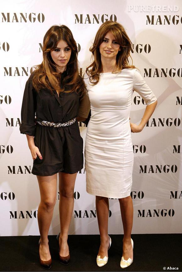 Le charme des soeurs Cruz n'échappe à personne et en 2008 Mango les choisit comme égérie et designer. A la fois très similaires et différentes elles affichent leur dualité en noir et blanc.