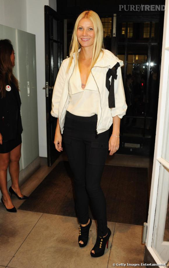 L'actrice Gwyneth Paltrow en look Black&White, silhouette que l'on associe souvent à la maison Chanel.