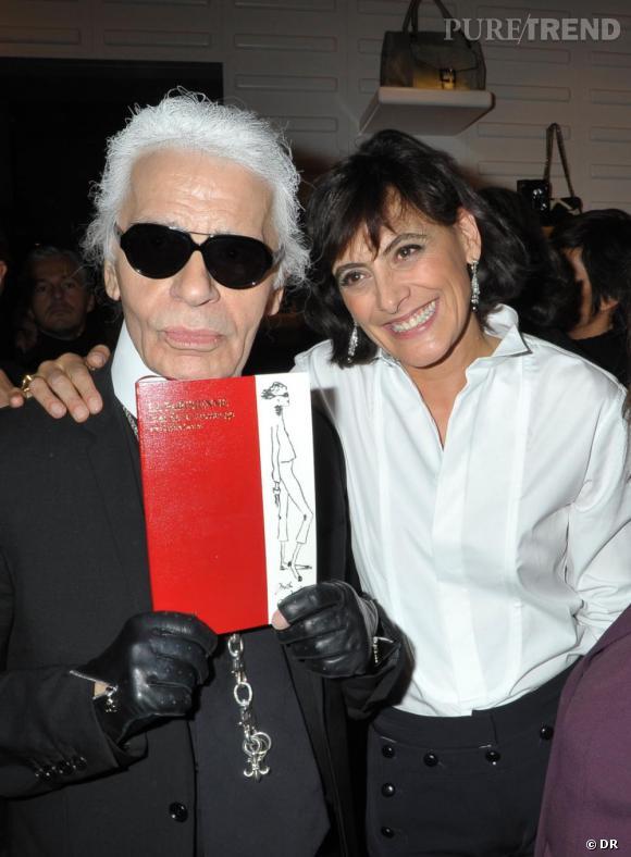 Karl Lagerfeld et Inès de la Fressange à la soirée de lancement du livre La Parisienne d'Inès de la Fressange, chez Roger Vivier.