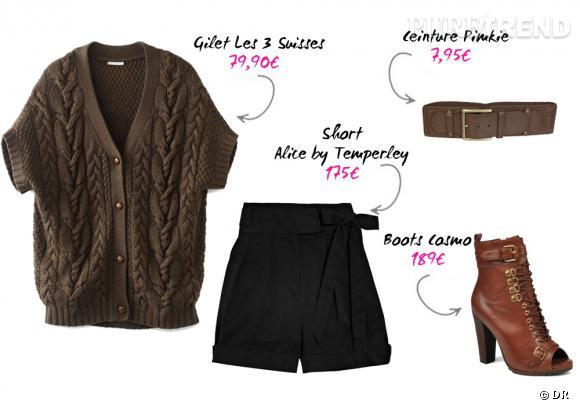 Gilet Les 3 Suisses, short Alice by Temperley sur Net-a-porter, ceinture Pimkie, boots Cosmo sur sarenza.com.