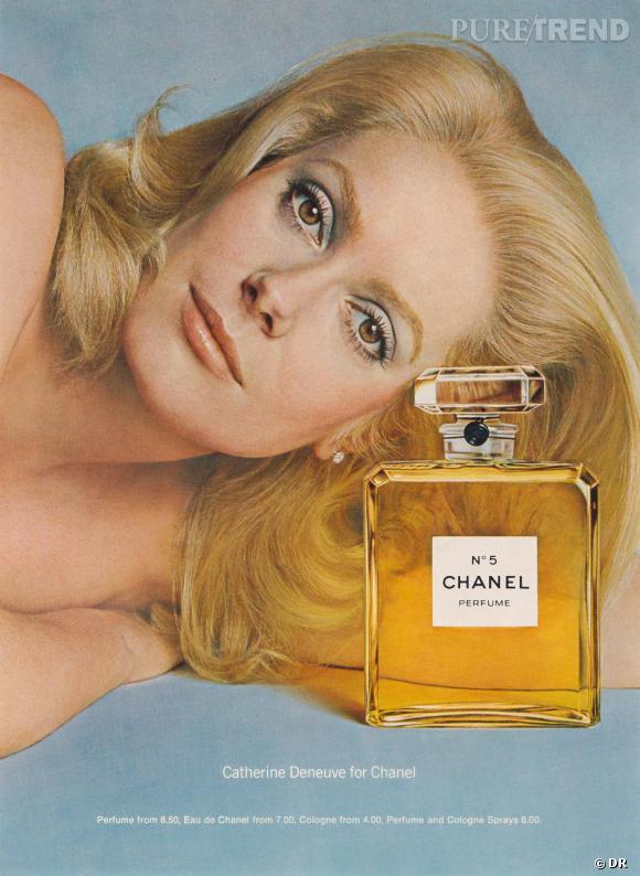 Chanel N°5, la rétrospective.     Catherine Deneuve, égérie du parfum en 1973, photographiée par Richard Avedon.