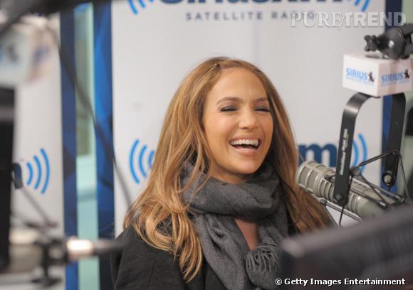 Jennifer Lopez lors d'une visite à la station de radio Sirius XM à New-York.