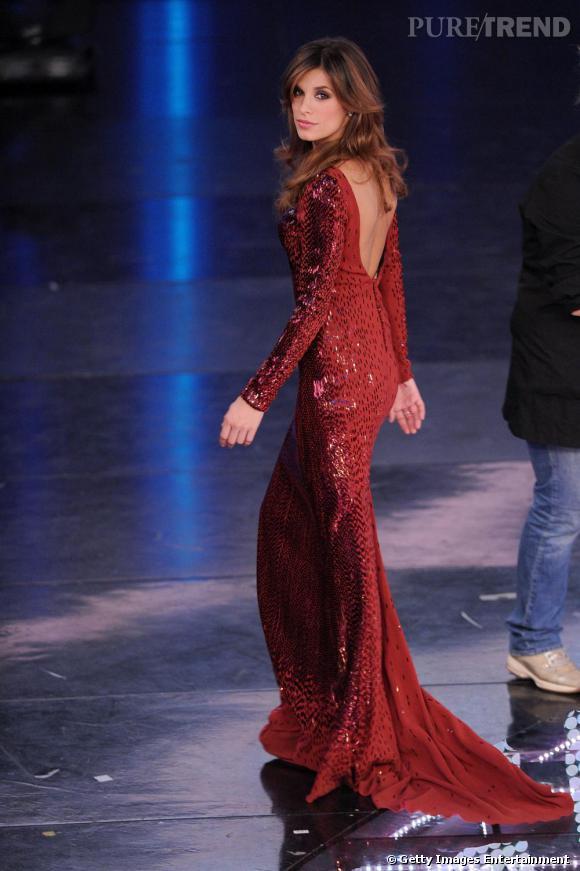 Elisabetta Canalis à l'Italian Song Festival de Sanremo.