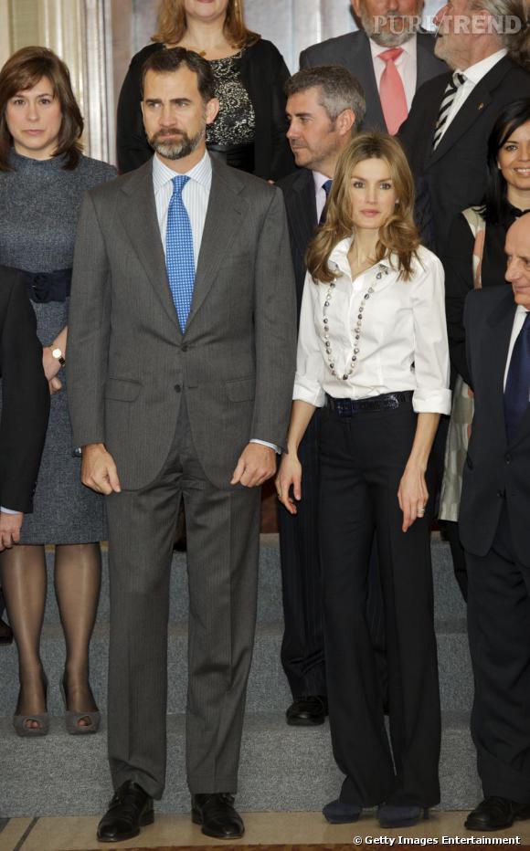 Letizia Ortiz et le prince Felipe assistent aux audiences au Palais Zarzuela, à Madrid.