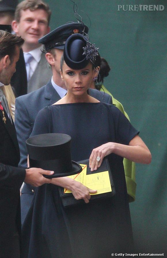 Victoria Beckham au mariage de Kate Middleton et du prince William à Londres, vendredi 29 avril.