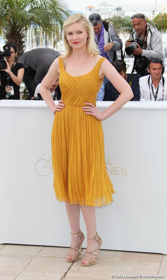 """Kirsten Dunst, au photocall de """"Melancholia"""" à Cannes."""