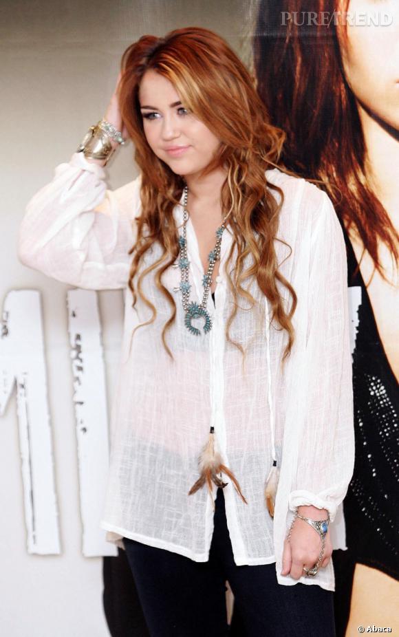 Miley Cyrus en conférence de presse à Mexico.