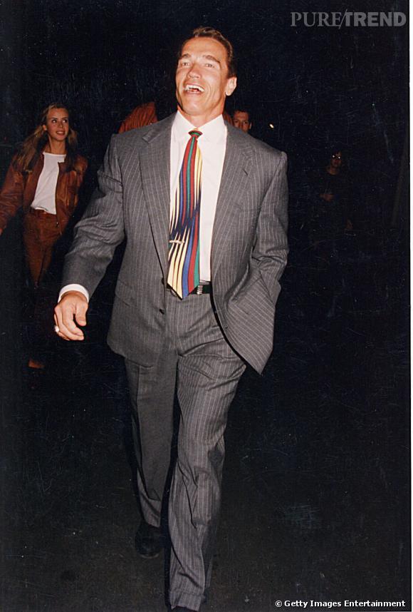 Arnold Schwarzenegger, en 1993, pour les MTV Movie Awards. Ici en costume gris, il ajoute une touche de couleur à son look avec la cravate.