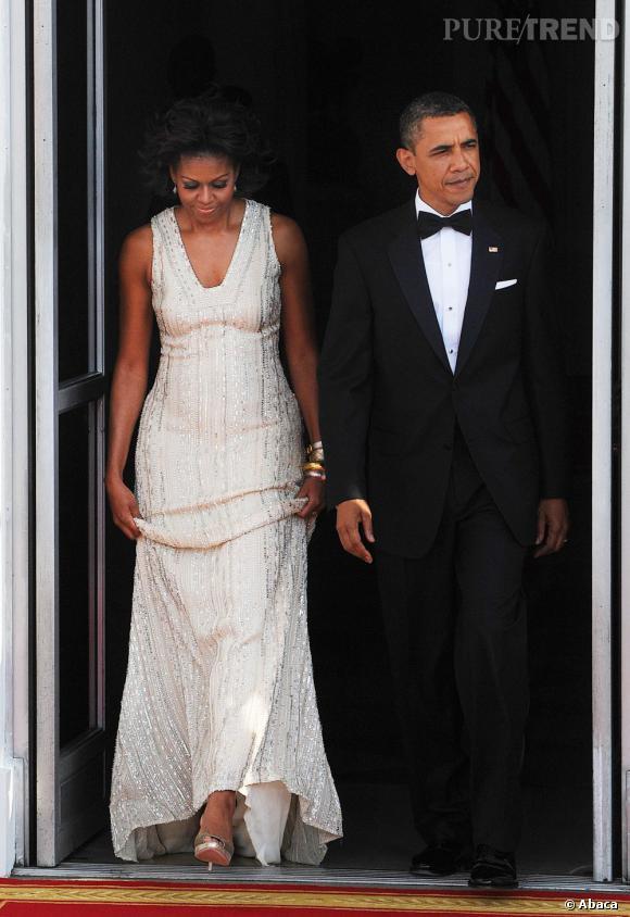 Michelle Obama joue les princesses dans une longue robe Naeem Khan.