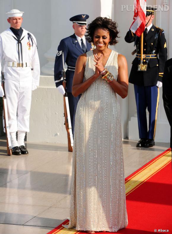 Michelle Obama accueille la chancelière allemande Angela Merkel à la Maison Blanche.