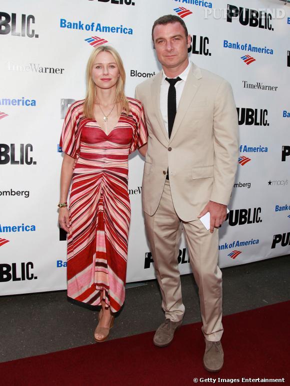 Naomi Watts et son compagnon, Liev Schreiber, au Shakespeare Gala de New York.