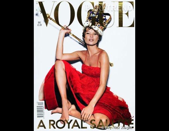 Kate Moss pour le Vogue UK, décembre 2001.