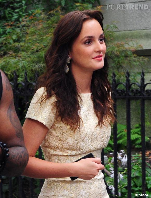 Leighton Meester sur le tournage de la série Gossip Girl à New York.