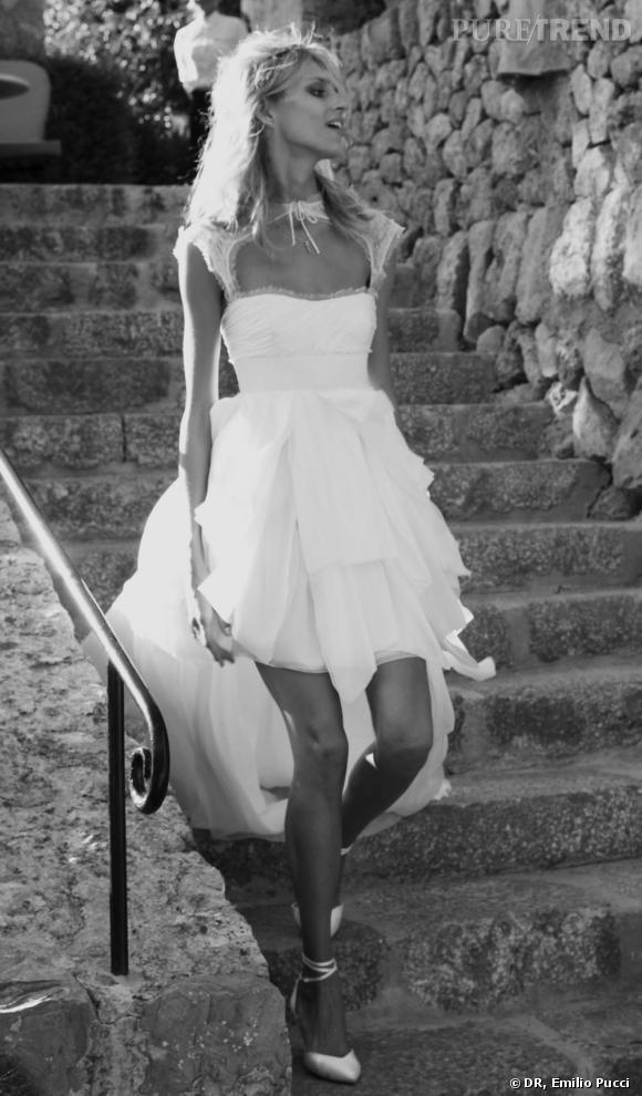 Anja Rubik en robe de mariée Emilio Pucci.