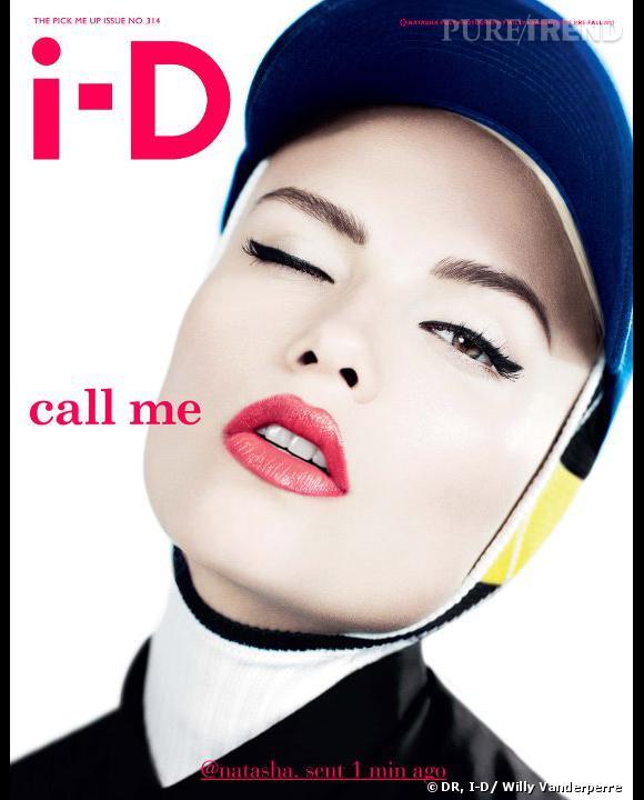 Natasha Poly, en cagoule couture pour la couverture du numéro de septembre du magazine I-D.