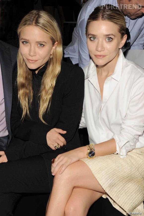 Ahsley Olsen, à droite, avec sa soeur Mary-Kate au défilé J.Mendel à New York.
