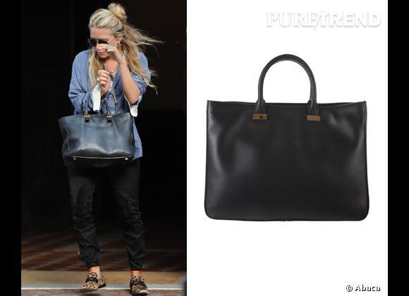 """Wanted : les sacs The Row des soeurs Olsen !   Tous les modèles sont des must pour les soeurs Olsen. ici, Ashley avec le """"Day Lux"""" noir."""