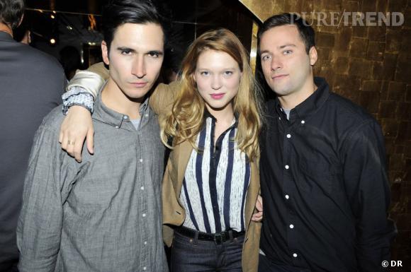 Lazaro Hernandez, Léa Seydoux et Jack  McCollough à la soirée Proenza Schouler & POP Magazine au Silencio.