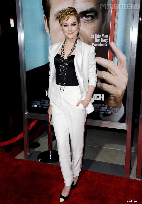 """Evan Rachel Wood lors de la première du film """"Les Marches du pouvoir"""" à Los Angeles."""