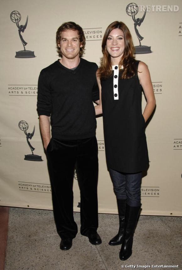 Michael C Hall au côté de son ex-femme Jennifer Carpenter. Un couple raccord en total look noir.