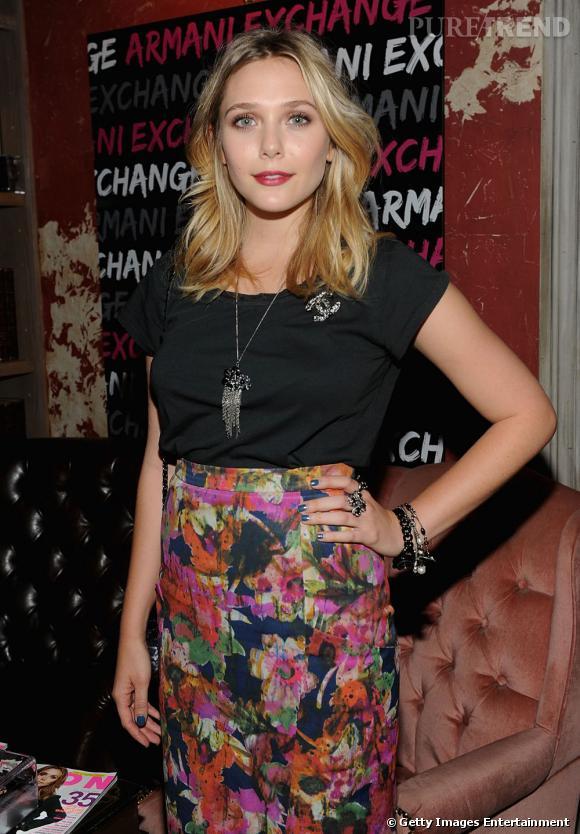 Elizabeth Olsen à la soirée Nylon organisée en son honneur à New York.