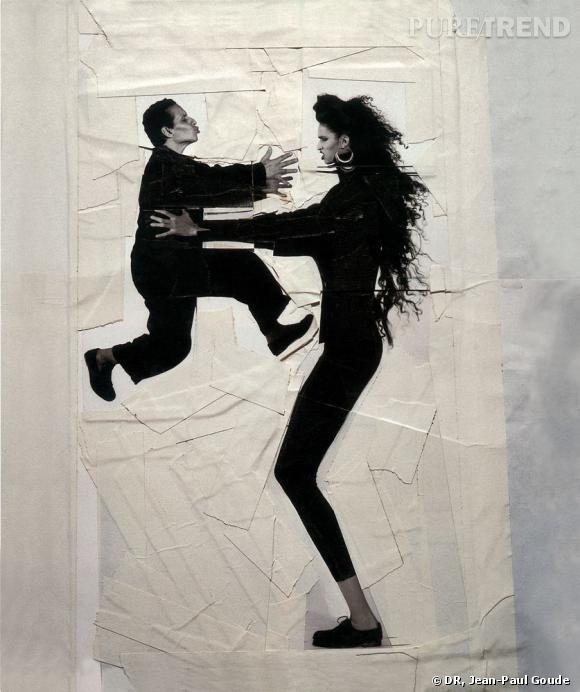 Azzedine et Farida, tirage photographique découpé et ruban adhésif, 1984