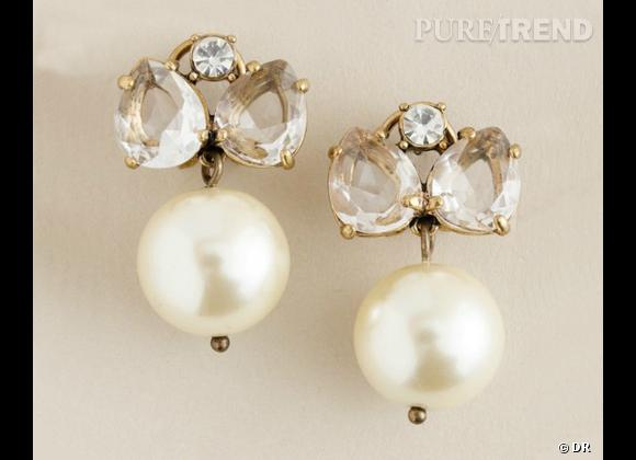 "Le coup de coeur de Marijke Boucles d'oreilles J. Crew collection ""Wedding"", 69,75 € sur www.jcrew.com."