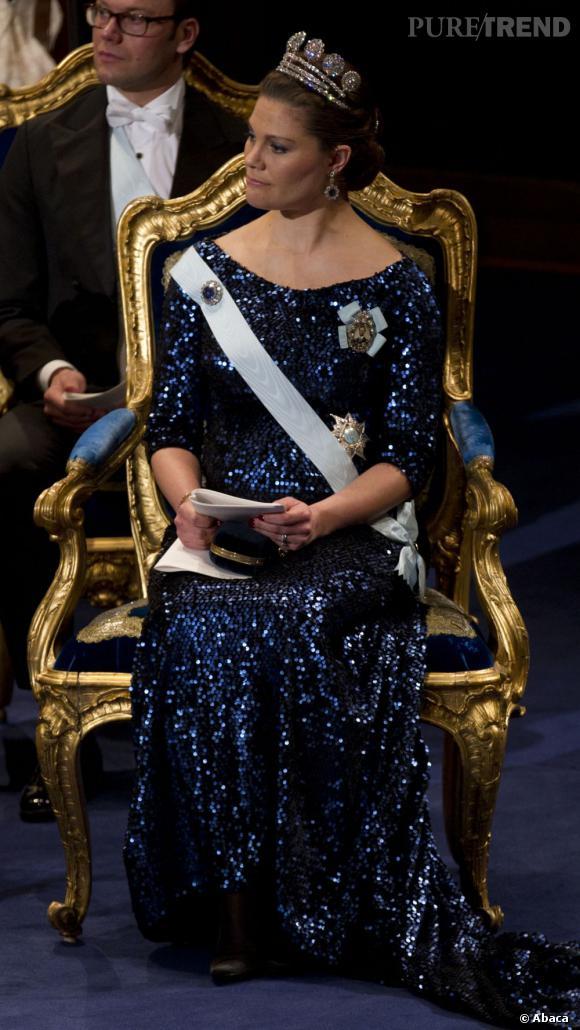 La Princesse Victoria de Suède lors de la cérémonie du Prix Nobel à Stockholm.