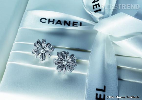 Motifs d'oreilles Boucles de Camélia en or blanc 18 carats, sertis de 126 diamants blancs et 283 diamants noirs taille brillant pour un poids total de 3 carats.