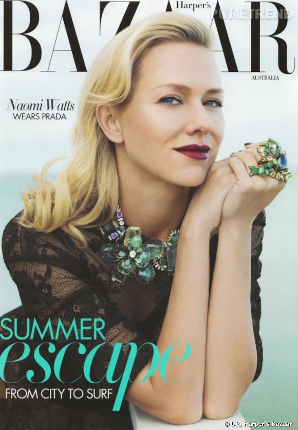 Naomi Watts en couverture du Harper's Bazaar de janvier-février 2012.