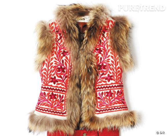 Zoom sur la fourrure : le shopping     Gilet Antik Batik, 515 € aux Galeries Lafayette.