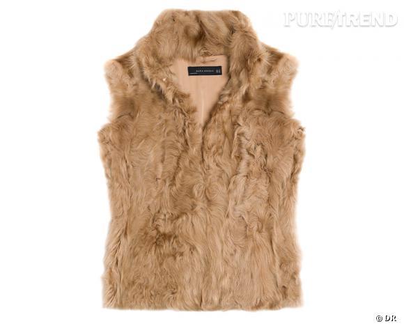 Zoom sur la fourrure : le shopping     Gilet en fausse fourrure Zara, 49,95 €.