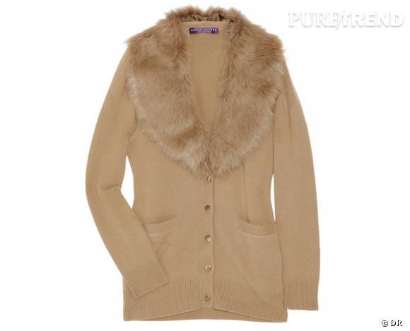 Zoom sur la fourrure : le shopping     Cardigan Ralph Lauren Collection, 925 € sur  Net-a-porter.com .