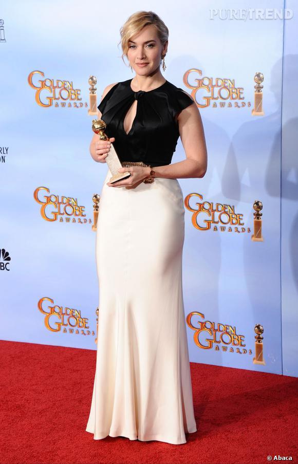 """Kate Winslet en Jenny Packham, remporte le prix de meilleure actrice pour son rôle dans la série """"Midred Pierce""""."""
