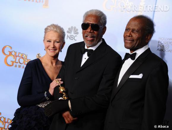 Morgan Freeman s'est vu remettre le prestigieux Prix Cecil B. DeMille des mains de Helen Mirren et Sidney Poitier.